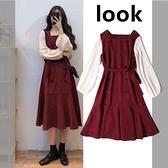 長袖洋裝大碼胖mm洋裝女裝2021年新款春秋季顯瘦假兩件洋氣減 【七月特惠】