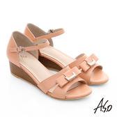 A.S.O 南法香頌 質感釦飾仿木紋楔型涼鞋  粉橘