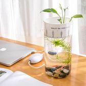 創意免換水魚缸 小型自潔生態辦公室桌面魚缸玻璃懶人水族箱 【格林世家】