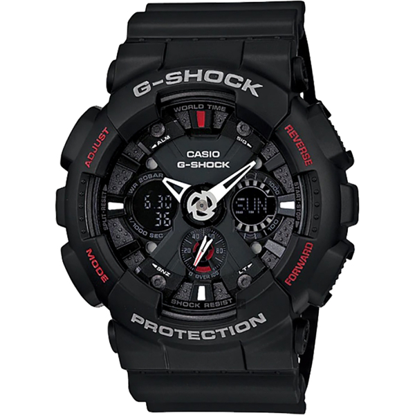 CASIO 卡西歐 G-SHOCK 重機雙顯手錶-紅黑 GA-120-1A/GA-120-1AHDR 比漾廣場