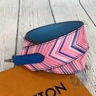 BRAND楓月 LOUIS VUITTON 路易威登 LV 彩色圖騰寬背帶 天空藍底色 光滑/皮質面 包包配件