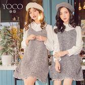 東京著衣【YOCO】輕甜女孩假兩件式襯衫拼接毛呢背心洋裝-S.M.L(172665)