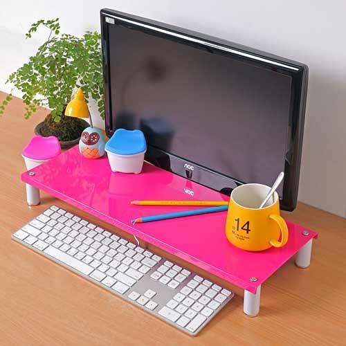 【方陣收納】高質烤漆金屬桌上螢幕架/鍵盤架RET-125(粉色1入)