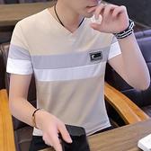 V領T恤 短袖t恤衫男純棉2021新款夏季潮流男式修身V領半袖條紋體恤白上衣  【618 大促】