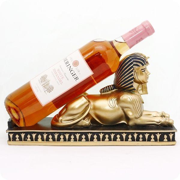 古埃及風人面像紅酒架/葡萄酒架/裝飾/擺飾-金【雅典娜家飾】