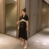 孕婦裝時尚款套裝黑色洋裝黑色職業裝上班套裝夏季中長款裙子潮 青山市集