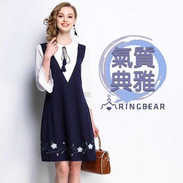 氣質洋裝--假兩件優雅繫帶蕾絲荷葉袖修身刺繡七分短袖洋裝(藍M-3L)-D505眼圈熊中大尺碼