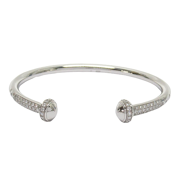 PIAGET 伯爵 Possession Open Bangle Bracelet 18K白金鑲飾圓形美鑽手鐲【BRAND OFF】