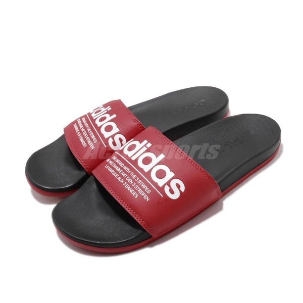 adidas 拖鞋 Adilette Comfort 紅 白 男鞋 涼拖鞋 運動拖鞋 【ACS】 FX4288