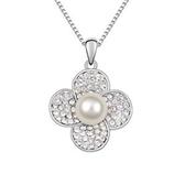 項鍊 925純銀 珍珠銀飾墜子-鑲鑽花朵生日情人節禮物女飾品5色73aj536[時尚巴黎]