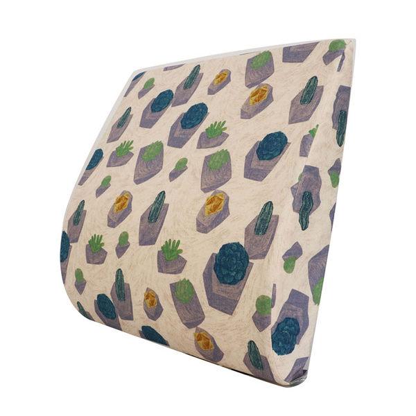 〈多肉植物-2色〉舒腰枕-可愛印花 辦公室OL久坐腰靠護腰墊 汽車椅靠墊皆適用【Prodigy波特鉅】