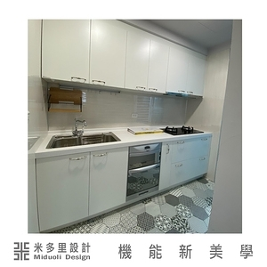【MIDUOLI米多里】白色北歐風一字型系統廚具