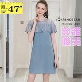 雪紡洋裝--優雅空花蕾絲荷葉袖拼接修身雪紡圓領短袖洋裝(黑.藍M-3L)-D496眼圈熊中大尺碼◎