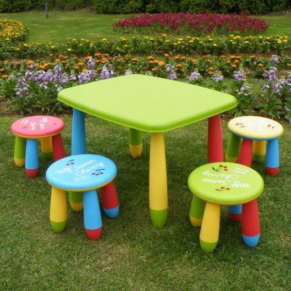 兒童椅子儿童桌椅幼儿园桌椅宝宝桌学习桌书桌塑料桌子 卡通加厚长方桌-享家