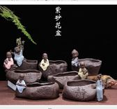 花盆 多肉陶瓷花盆 現代田園個性復古可愛紫砂小和尚花器家居裝飾擺件 莫妮卡小屋
