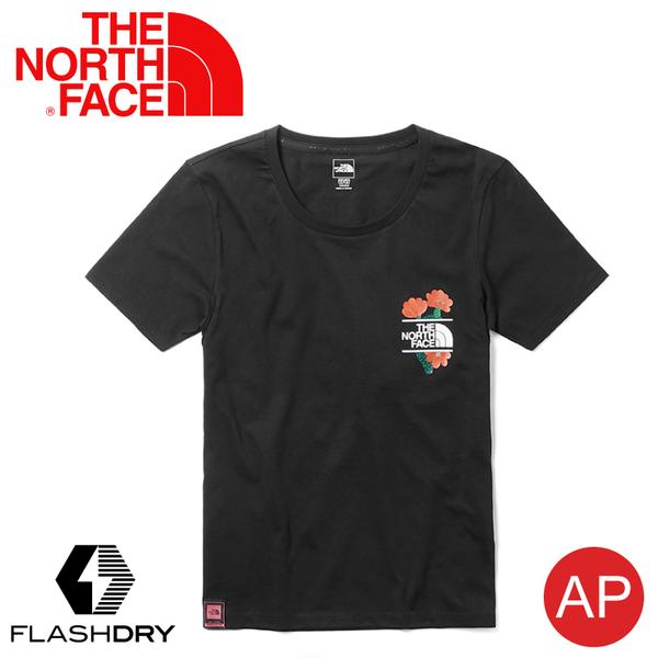 【The North Face 女 混棉短袖T恤《黑》】3V59/FlashDry/吸濕排汗/快乾/運動衣/休閒/跑步