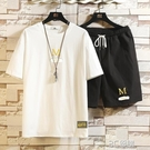 夏季休閒短袖t恤套裝男時尚字母印花學生搭配大碼胖子運動兩件套 3C優購