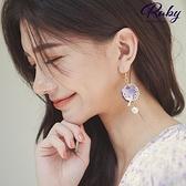 耳環 RCha。花朵小鳥圓環貝殼耳針/夾式耳環-Ruby s 露比午茶