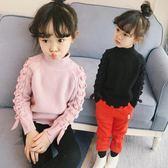 女童毛衣套頭打底秋冬新款童裝韓版半高領針織xx11247【Pink中大尺碼】