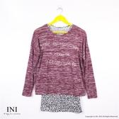 【INI】層次風采、混紗配色真兩件式寬版上衣.暗紅色