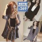 【DIFF】韓版時尚氣質格子套裝九分袖外...