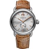 AEROWATCH 1942系列大視窗小秒針腕錶-銀x咖啡/40mm A41900AA03