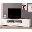 【森可家居】魯邦白色7尺黑玻電視櫃 7Z...
