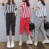 八八折促銷-短袖褲裝微胖mm妹妹洋氣夏季兩件套裝新品減齡遮肉時髦大尺碼女裝200斤