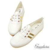 訂製鞋 軟皮側雙槓假鞋帶小白鞋-山打努SANDARU【107A581】金色下單區