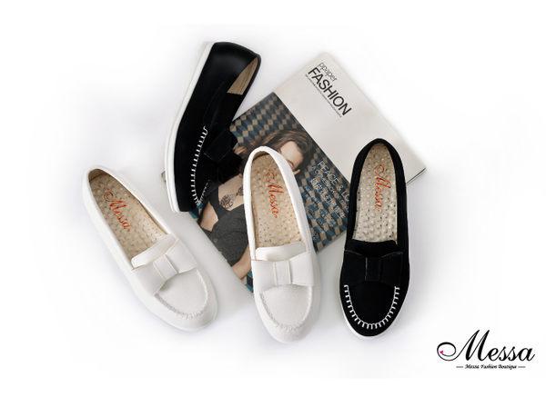 休閒鞋-Messa米莎 MIT絨皮蝴蝶結內真皮尖頭休閒鞋-黑色