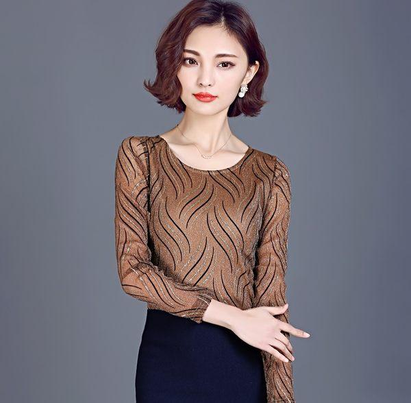 【AU08】長袖T恤秋季新款韓版大碼女裝修身水紋燙金網紗圓領打底衫女