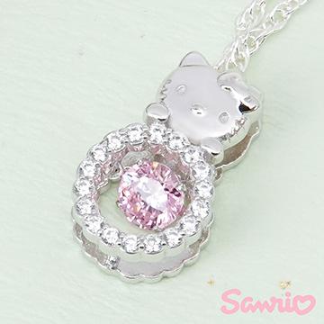 Hello Kitty凱蒂貓-時尚甜心(粉)-純銀項鍊