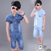 男童夏裝套裝2018新款牛仔中大童6兒童裝7短袖8韓版三件套11-13歲-Ifashion