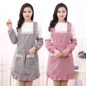 韓版時尚雙層防水圍裙廚房做飯圍腰圍裙可愛公主罩衣餐廳工作服  晴光小語