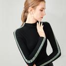 半高領針織內搭長袖T恤撞色緊身上衣(S-3XL可選)/設計家 AL30198