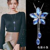韓版時尚項鏈女紫荊花毛衣鏈衣服配飾裝飾品掛件百搭長款花朵掛鏈 JA9575『毛菇小象』