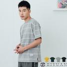 寬鬆短T【OBIYUAN】短袖上衣 棉質 開衩 條紋 衣服 共4色【X0002】