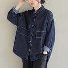 純棉明線長袖牛仔襯衫 翻領單排扣長袖襯衫/2色-夢想家-0118
