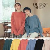 Queen Shop【01070932】圓領落肩寬版厚實純色毛衣 七色售*現+預*