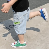 男童牛仔短褲 童裝男童夏季小童帥氣兒童中褲七分褲男孩牛仔短褲寬鬆薄款-Ballet朵朵