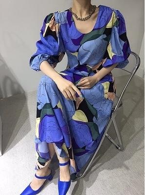 洋裝 連身裙個性圖案撞色設計減齡長款連身裙9605HS104.韓依紡
