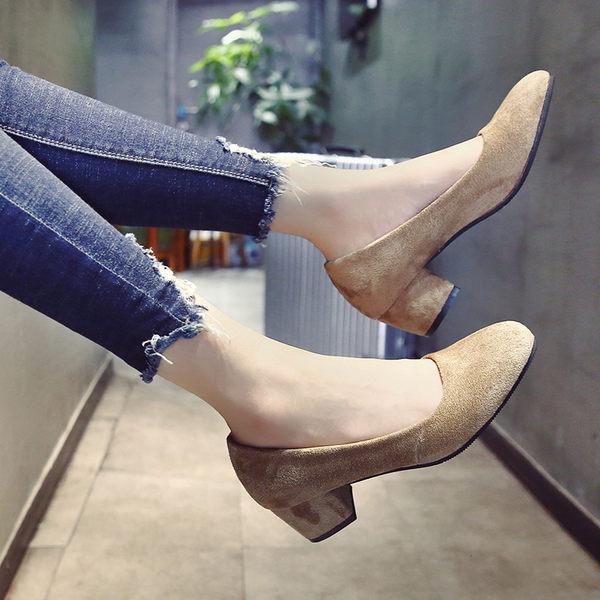 黑色/35號 韓版淺口方頭鞋子 粗跟中跟復古奶奶鞋