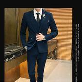 西服套裝男士三件套商務正裝職業小西裝韓版修身伴郎新郎結婚禮服 GB5654『小美日記』