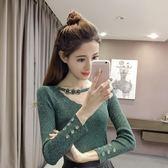 2018秋季新款氣質亮絲針織上衣正韓修身顯瘦打底衫長袖V領毛衣女