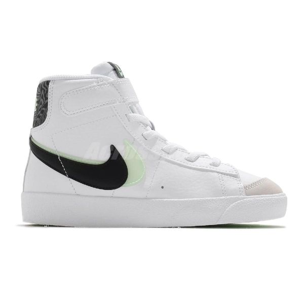 Nike 童鞋 Blazer Mid 77 SE PS 白 黑 綠 雙勾勾 中童 小朋友 魔鬼氈【ACS】 DD1848-100
