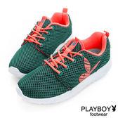 PLAYBOY 輕盈活力 螢光色彩網布休閒鞋-藍綠(女)