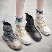 靴子.英倫風潮流厚底拼接馬丁靴.白鳥麗子