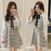 洋裝 秋裝新款韓版顯瘦氣質小香風長袖假兩件裙呢子套裝連身裙女潮【快速出貨】