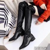 女秋冬新款韓版粗跟過膝長筒靴  2款可選