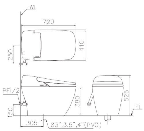 凱撒 CA1380-30CM 御洗數位馬桶套組 御洗數位馬桶 (乾式施工)